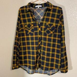 Eden & Olivia   Navy & Mustard Flannel Shirt Small